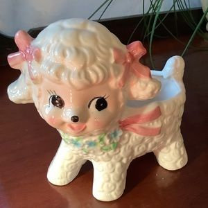 Kitschy Rubens 1960's pink baby lamb planter
